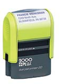 2000 PLUS Dual-Pad Printer 20 - Small Neon Green-Yellow Self-Inking Stamp  9/16in. x 1-1/2in. Since 1963 making a Great Impression for you.