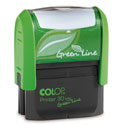 2000 Plus Printer 30 Green Line- Standard Self-inking Rubber Stamp  3/4in. x 1-7/8in. Standard address size and big enough for some bank endorsements and some signatures.  Custom, logos and artwork stamps. Post consumer recycled materials