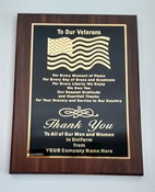PLAQUE-VETERAN GENUINE WALNUT 9 X 12 - PLQ VETERAN Genuine Walnut 9 x 12